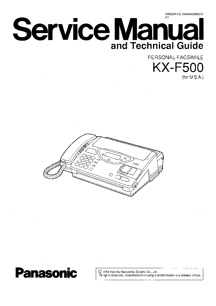 PANASONIC KX-F500 Service Manual download, schematics