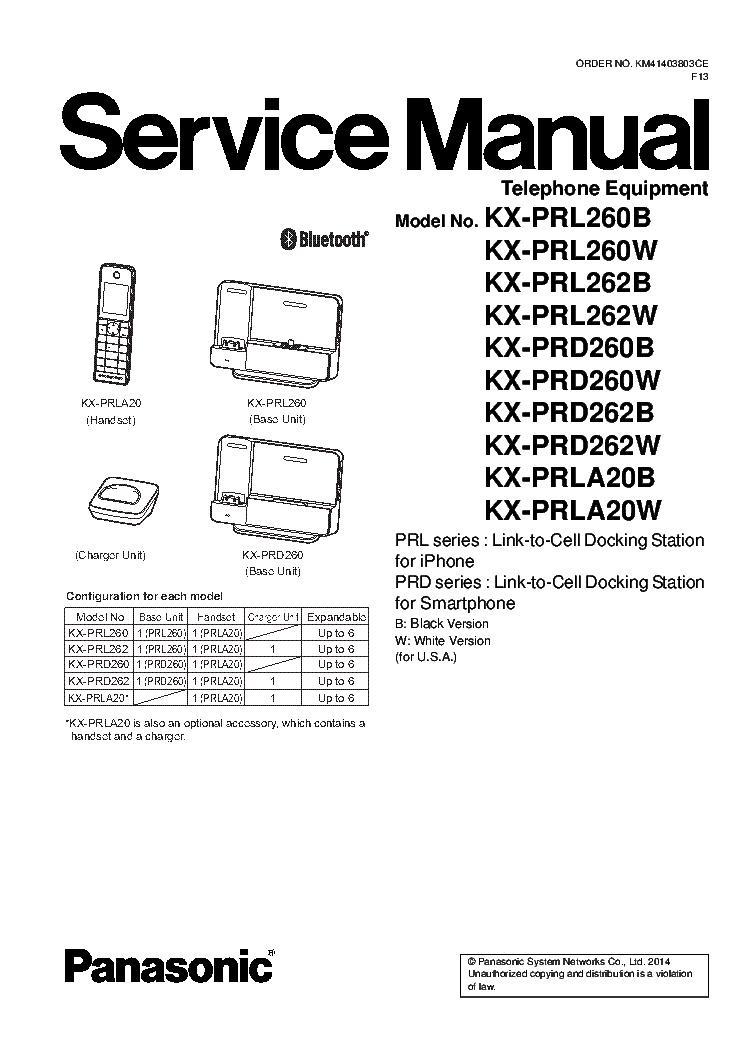 PANASONIC KX-PRL260B KX-PRL260W KX-PRL262B KX-PRL262W KX