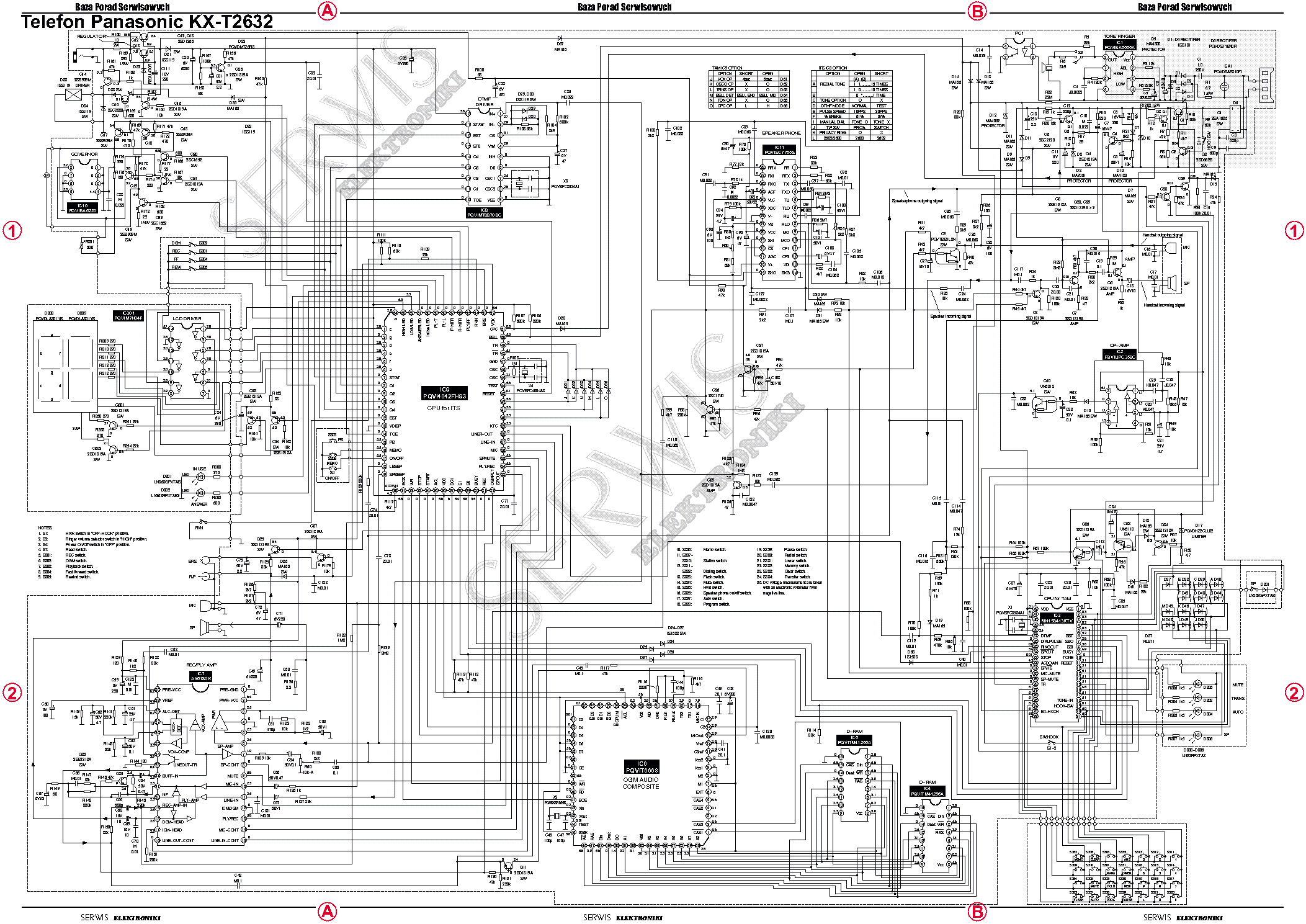 PANASONIC KX-T2632 Service Manual download, schematics
