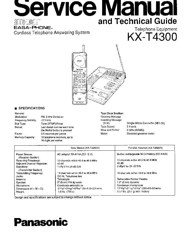 PANASONIC KX-T4300 Service Manual download, schematics