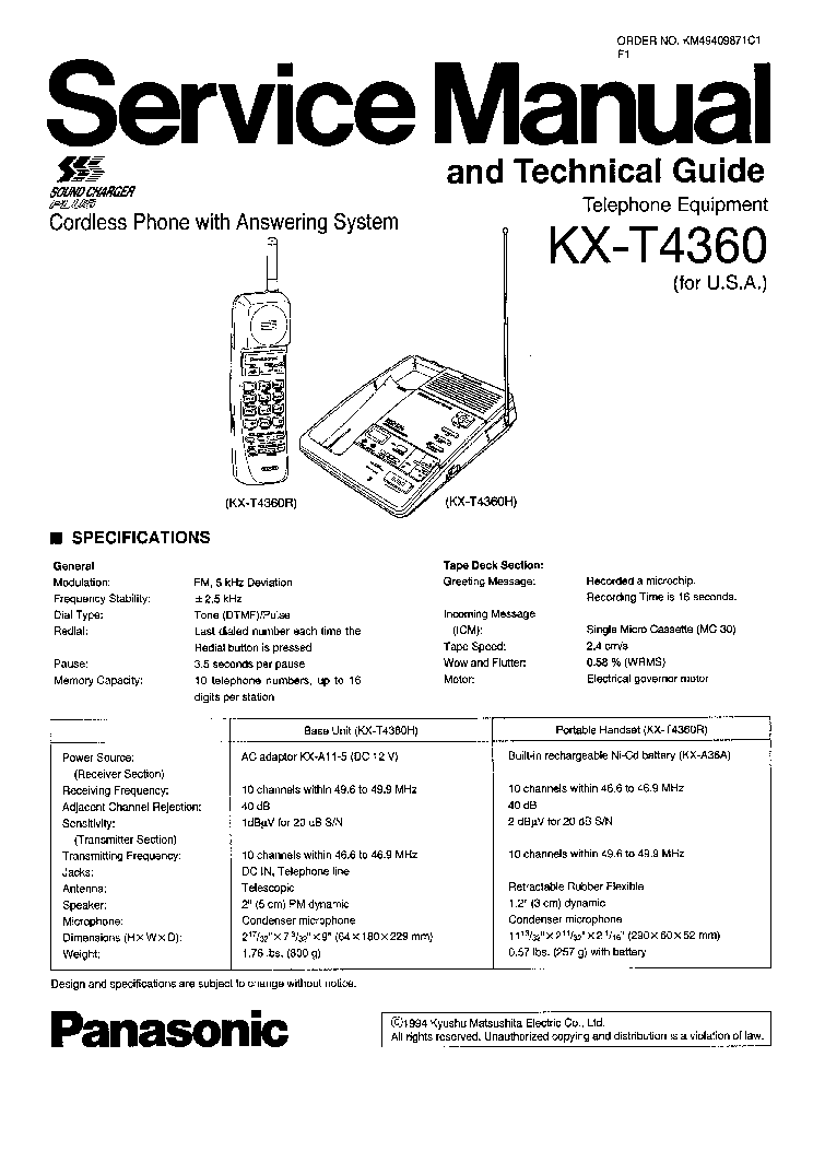 PANASONIC KX-T4360 TELEFON Service Manual download