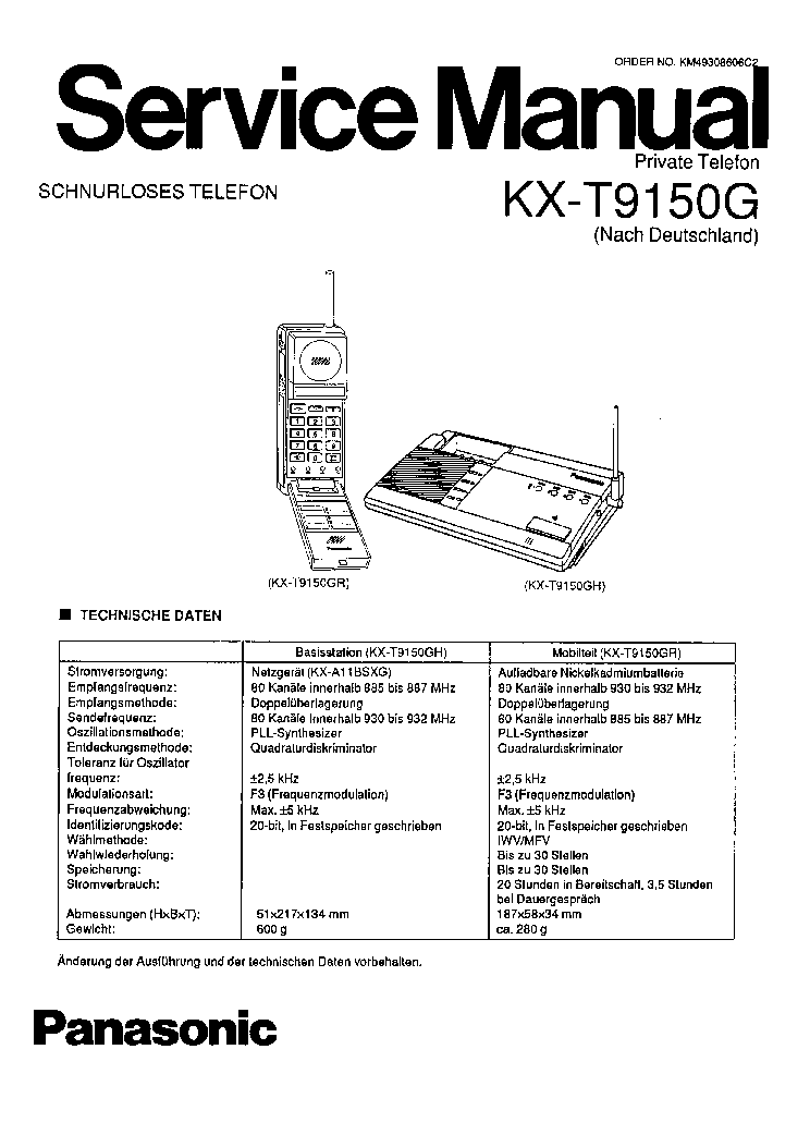 PANASONIC KX-T7033 Service Manual free download