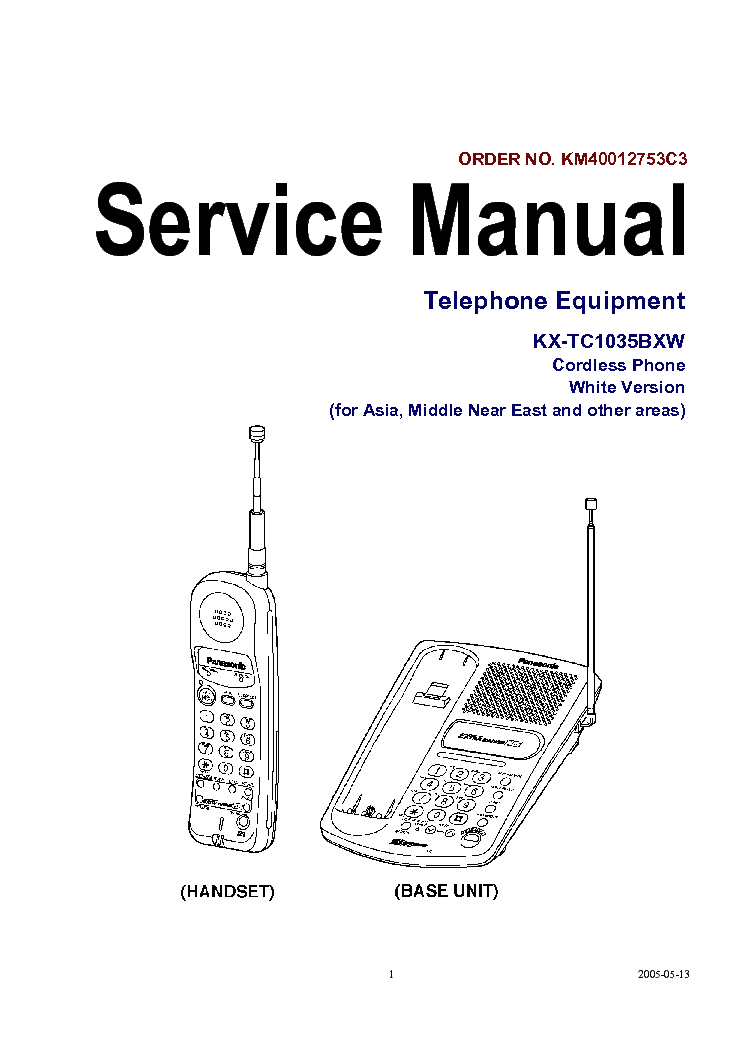PANASONIC KX-TC1035BXW-CORDLESS-PHONE-SERVICE-MANUAL-SCHEMATICS Service Manual download