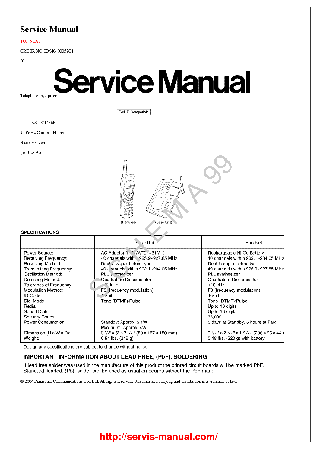 PANASONIC KX-T2395-1 TELEFON Service Manual free download