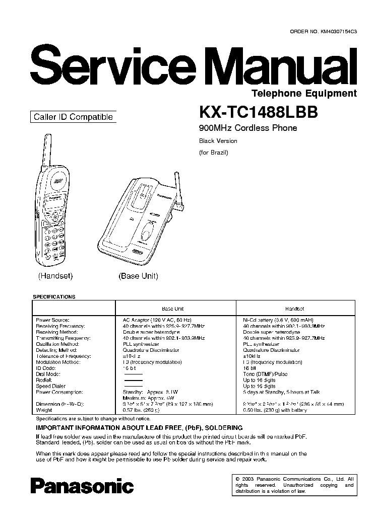 PANASONIC KX-TC1488LBB Service Manual download, schematics