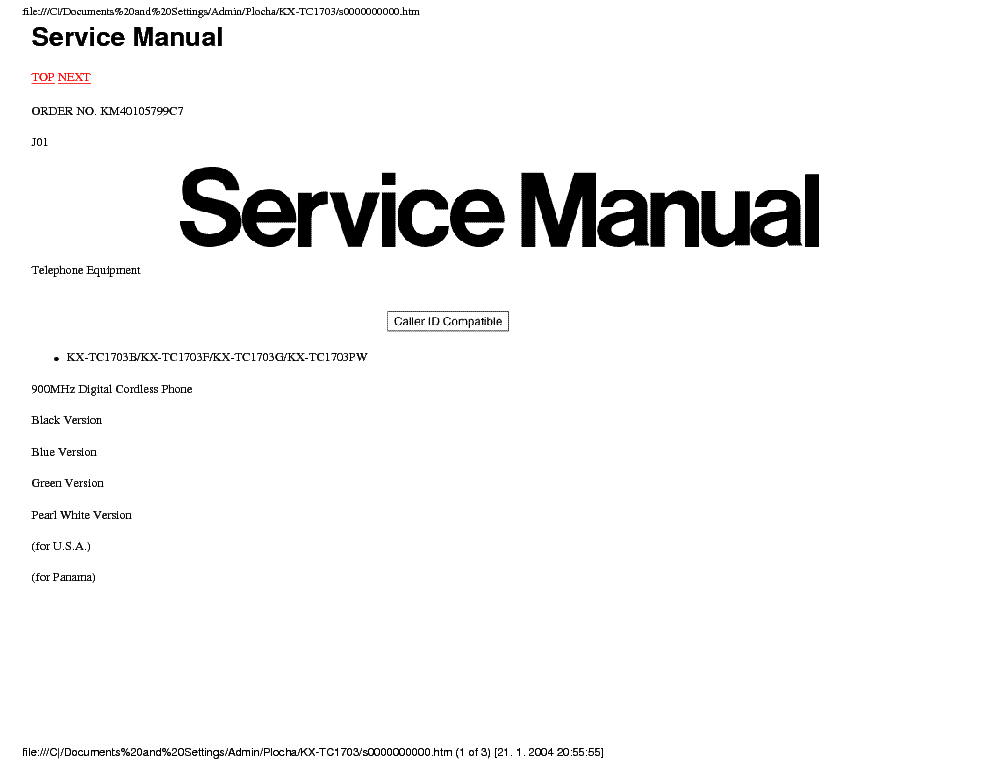 PANASONIC KX-TC1703 CORDLESS Service Manual free download