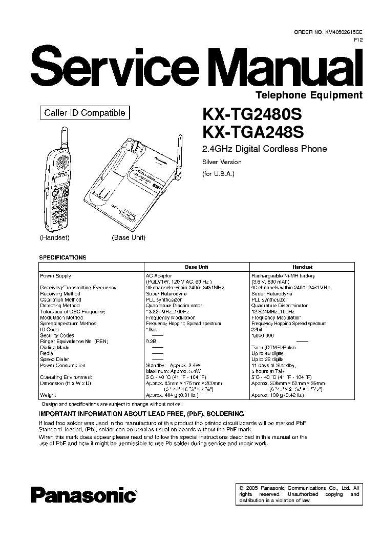 PANASONIC KX-TG2480S TGA248S Service Manual download