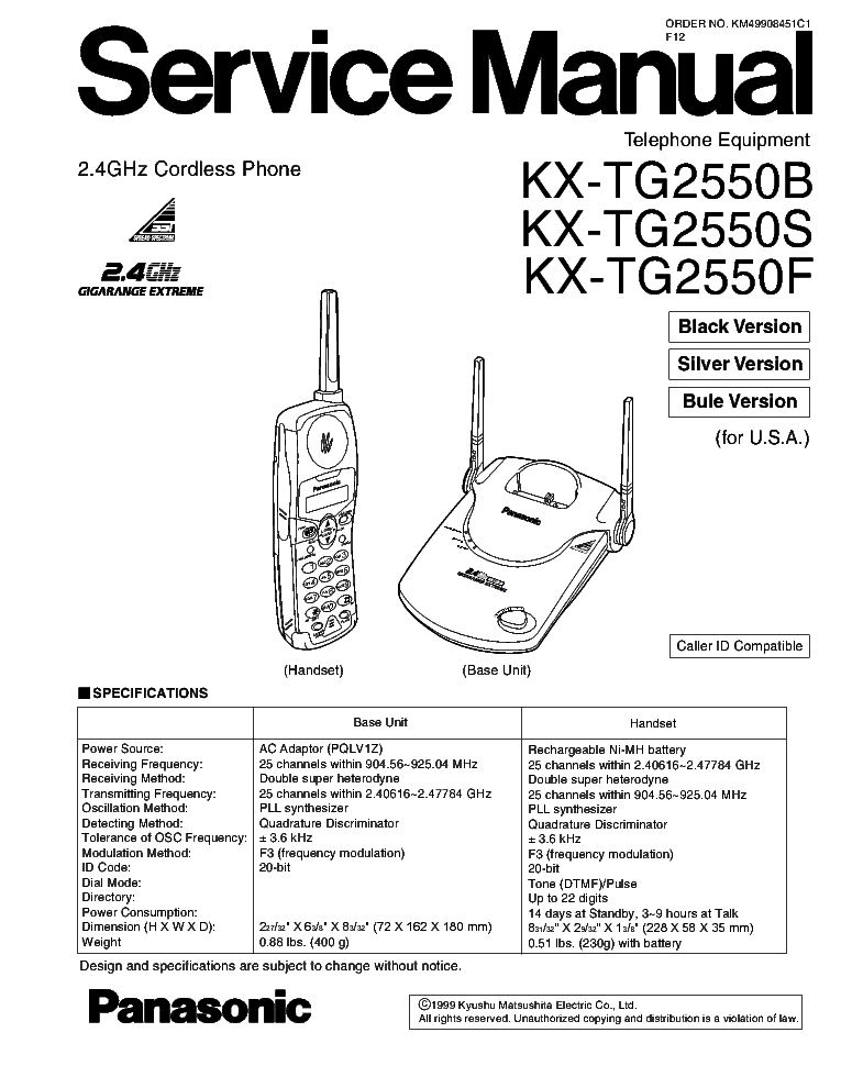 PANASONIC KX-TSC35SUW Service Manual free download