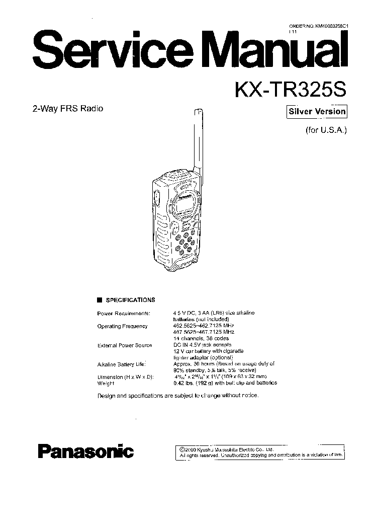 PANASONIC KX-TR325 Service Manual download, schematics