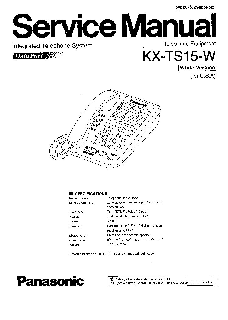 PANASONIC KX-TS15-W Service Manual download, schematics