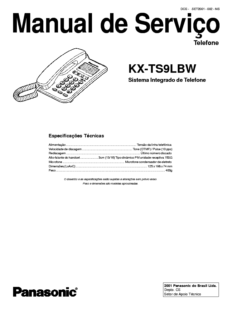 PANASONIC KX-TS9LBW Service Manual download, schematics