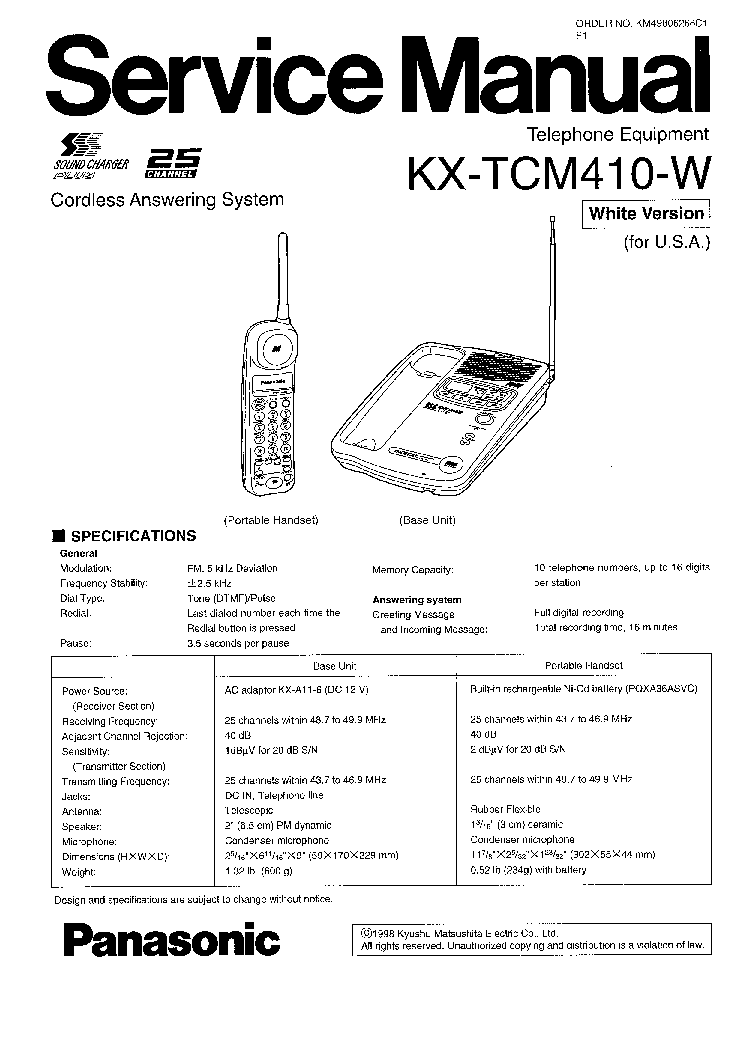 PANASONIC KX-TCM410-W Service Manual download, schematics