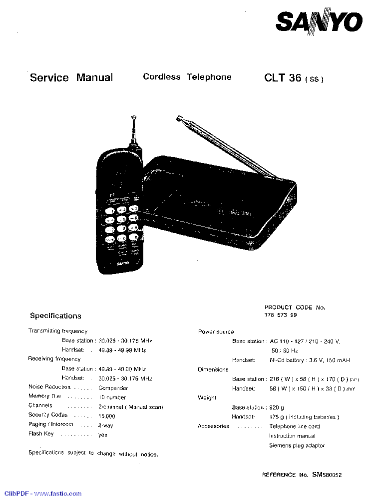 SANYO CLT-36 TELEFON Service Manual download, schematics
