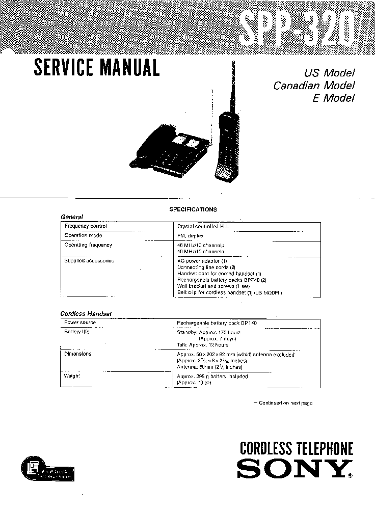SONY SPP-320 Service Manual download, schematics, eeprom