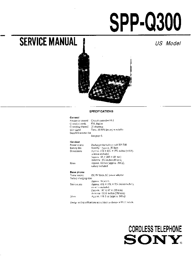 SONY SPP-Q300 Service Manual download, schematics, eeprom