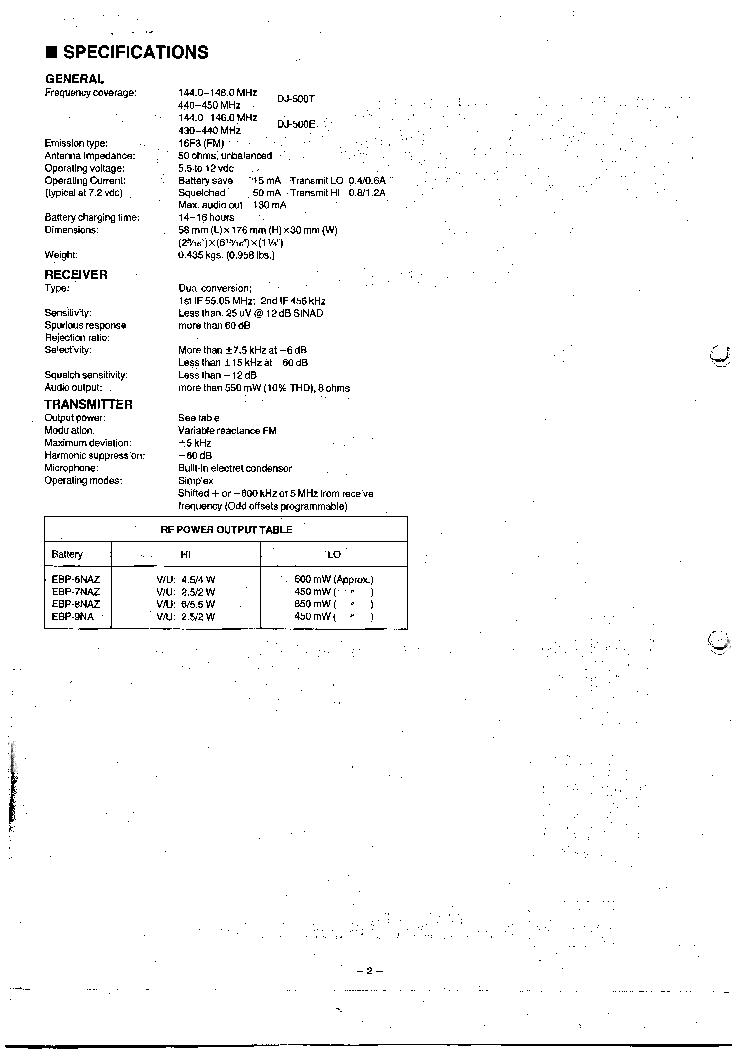 ALINCO DJ500T E SM Service Manual download, schematics