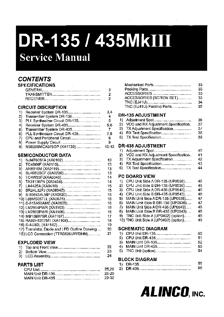 ALINCO DR-135,435MK3 Service Manual download, schematics
