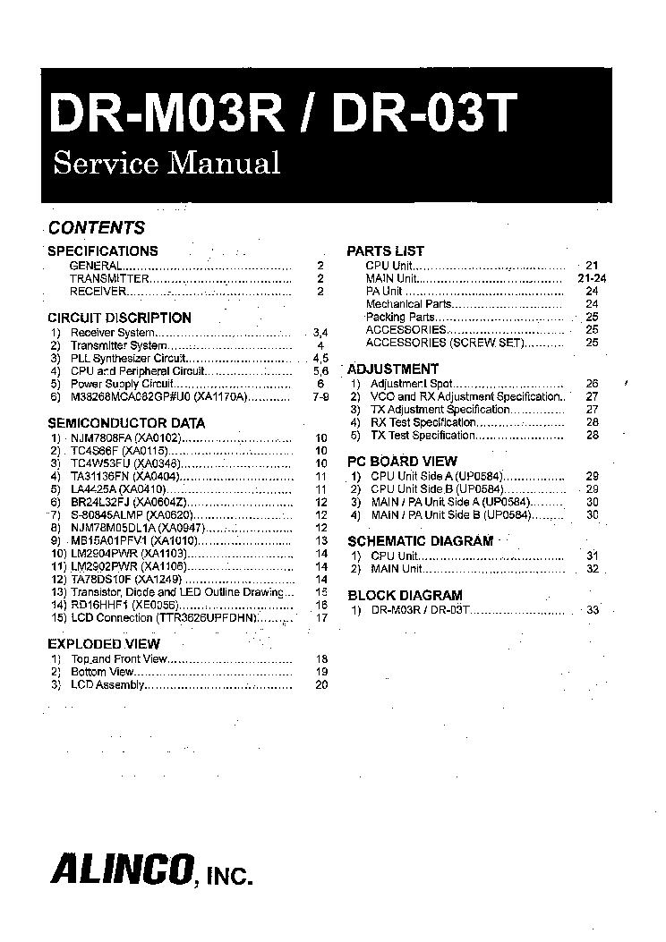 ALINCO DR-620 Service Manual free download, schematics