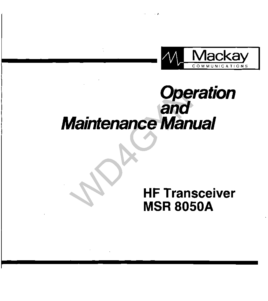 MACKAY MSR-8050A HF TRANSCEIVER Service Manual download
