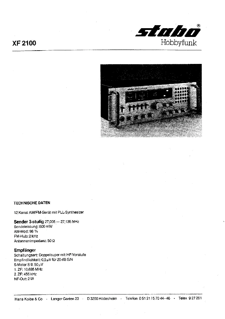STABO XM 3500 SM Service Manual download, schematics