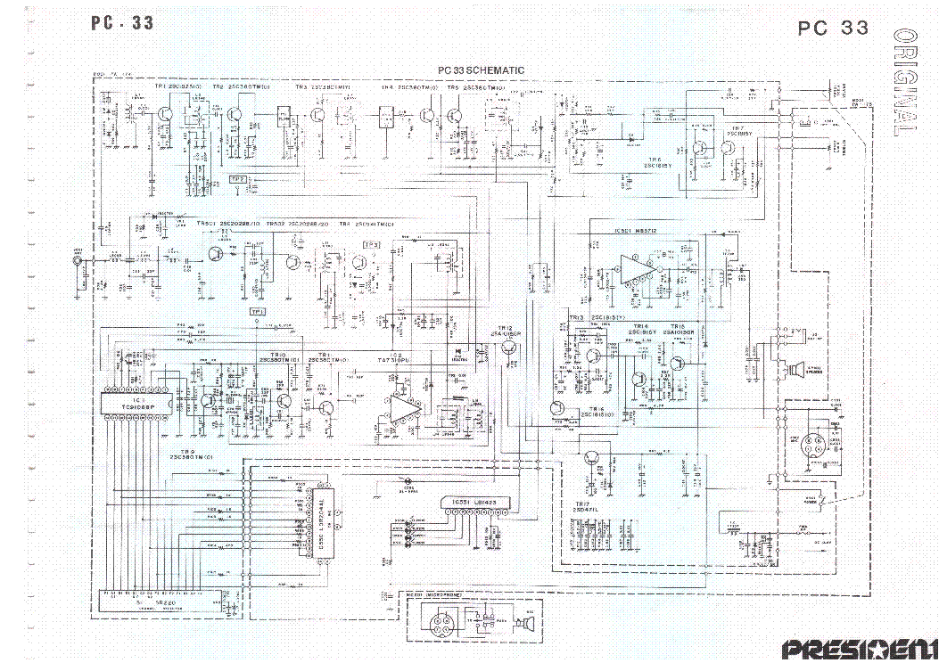 UNIDEN PC33 CB Service Manual download, schematics, eeprom
