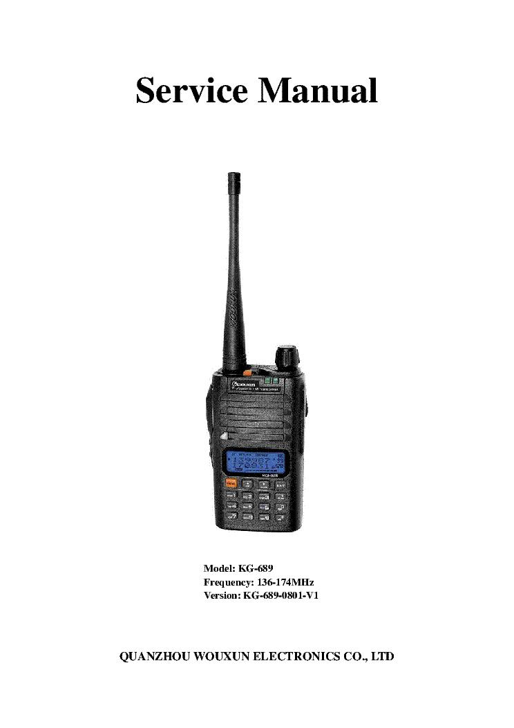 WOUXUN KG-UV6D Service Manual download, schematics, eeprom