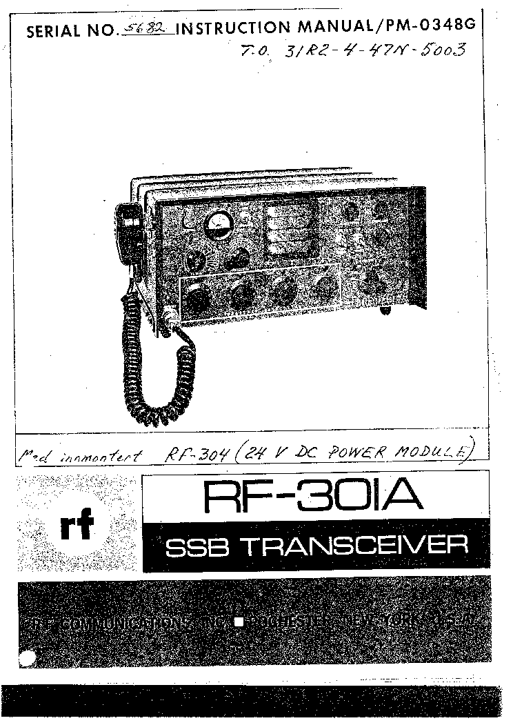 HARRIS RF-301A TRANCEIVER Service Manual download