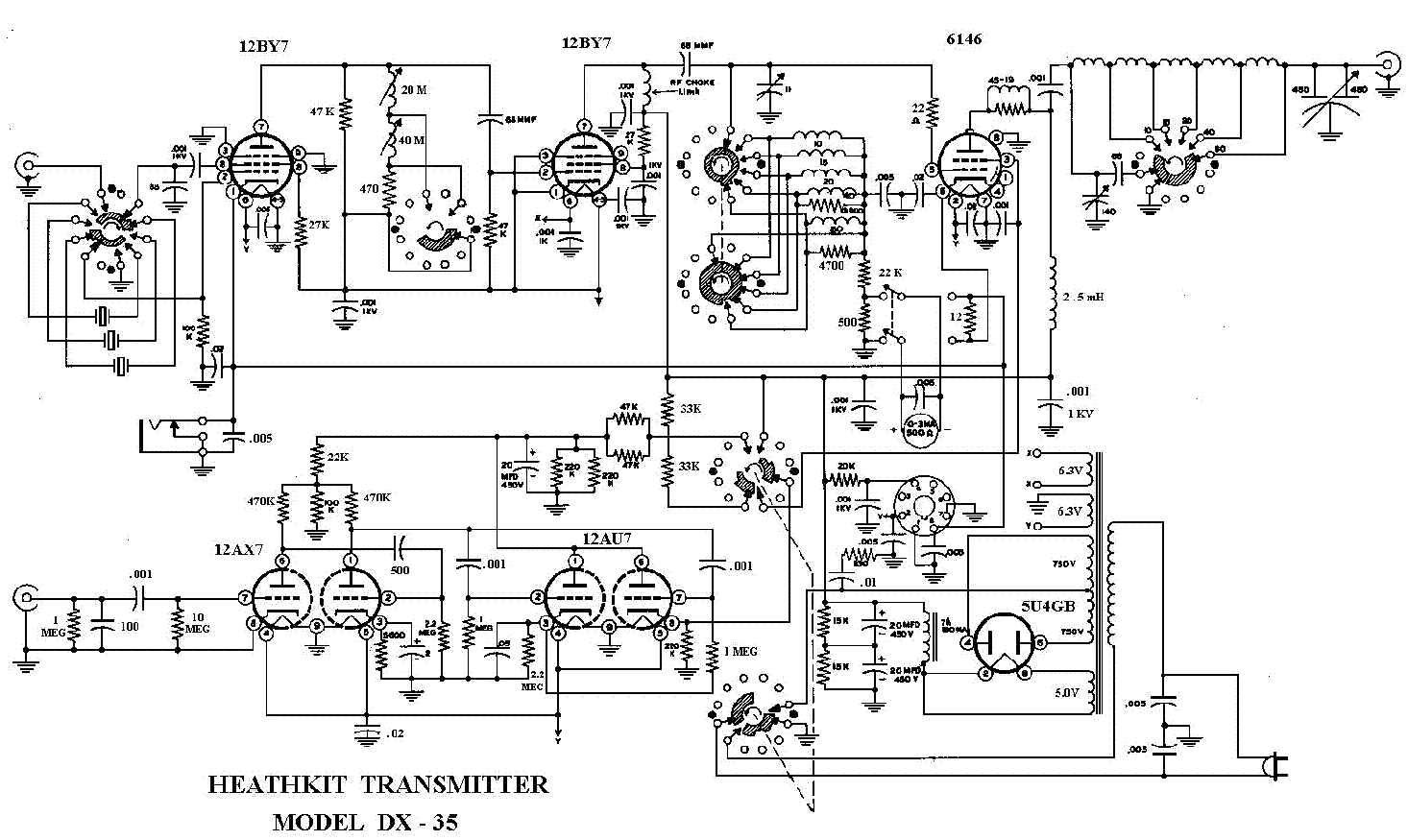 HEATHKIT DX-35 TRANSMITTER SM Service Manual download