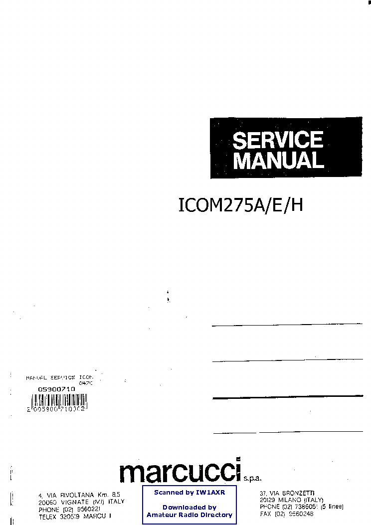 ICOM IC-275 Service Manual download, schematics, eeprom