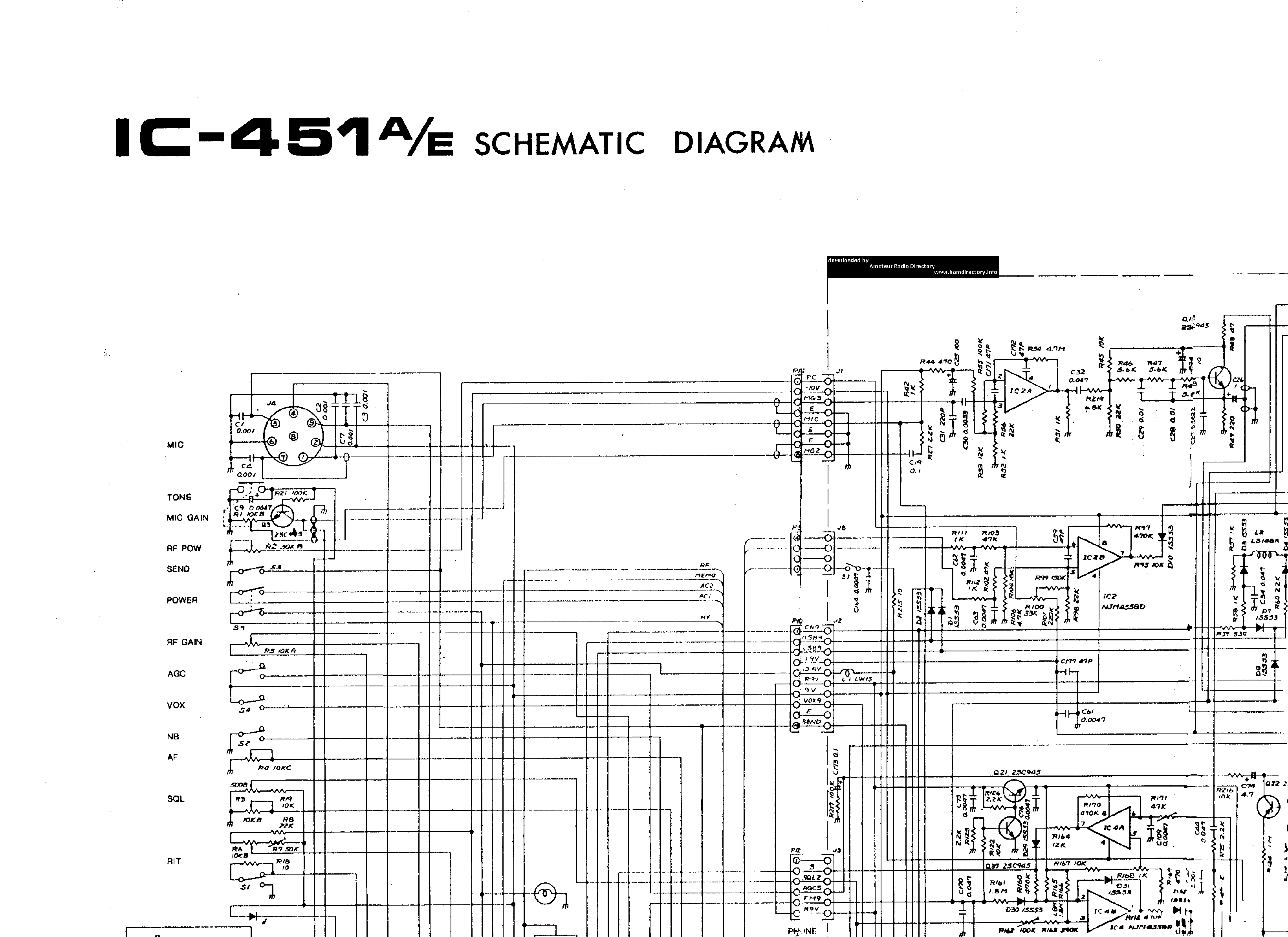 ICOM IC-451 Service Manual download, schematics, eeprom