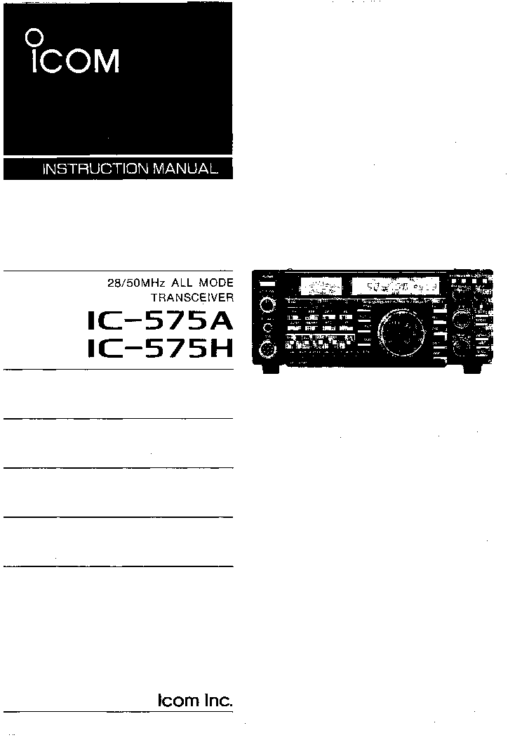 ICOM IC-575 SM Service Manual download, schematics, eeprom