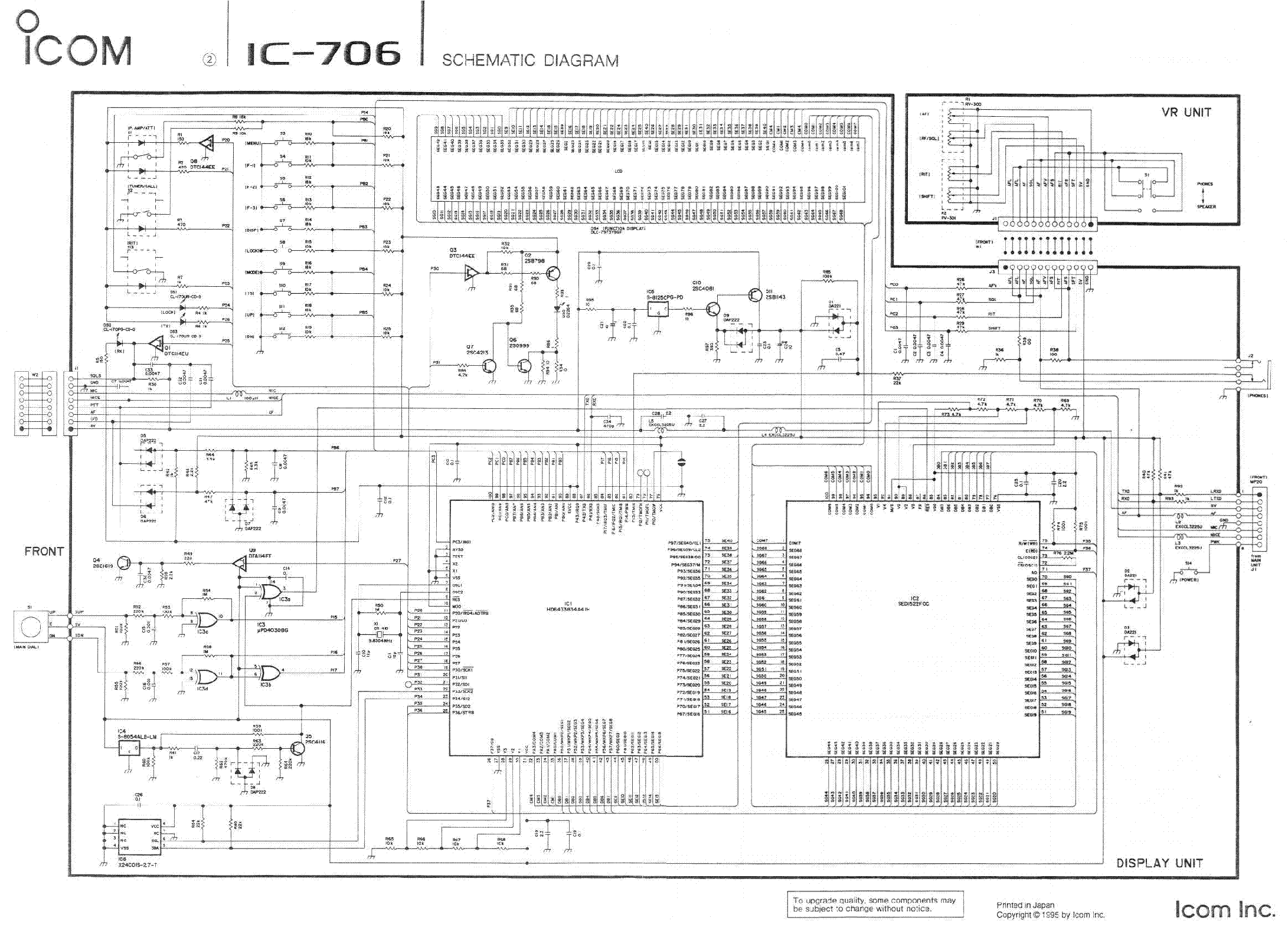 ICOM IC-706 SCHEMATIC Service Manual download, schematics
