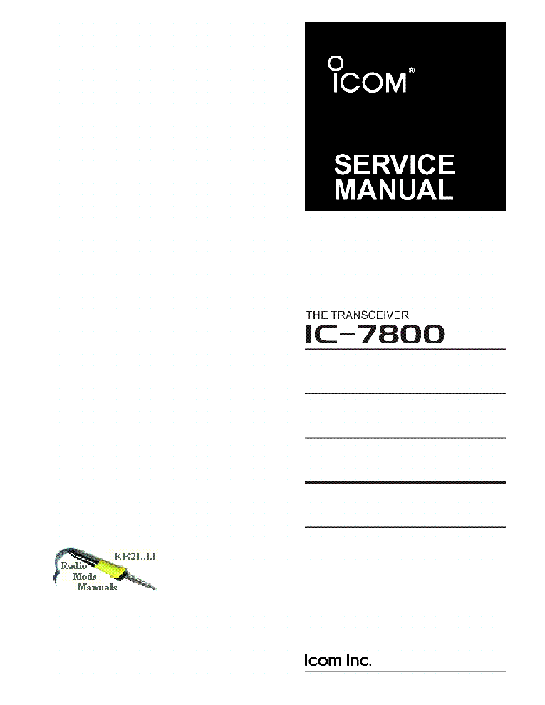 ICOM IC-7800 SERVICE MANUAL Service Manual download