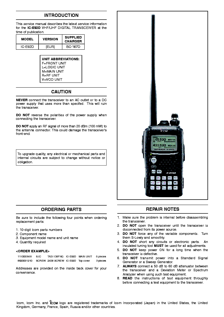 ICOM IC-E92D SERVICE MANUAL Service Manual download