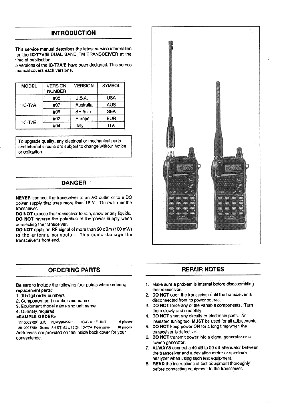 ICOM IC-T7A, T7E SERVICE MANUAL Service Manual download