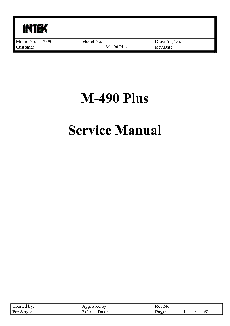 INTEK M100 SCH Service Manual free download, schematics