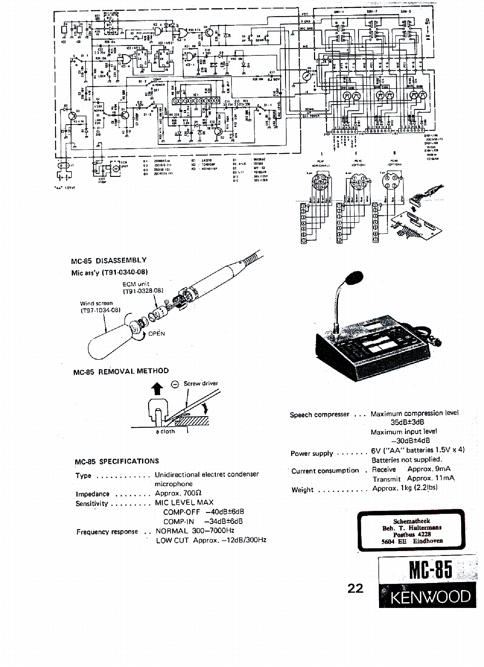 KENWOOD MC-85 SCH Service Manual download, schematics
