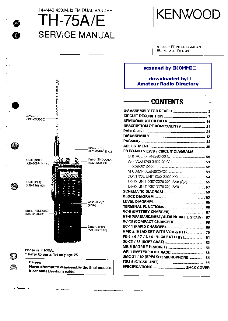 KENWOOD TK3360 UHF FM TRANSCEIVER Service Manual free