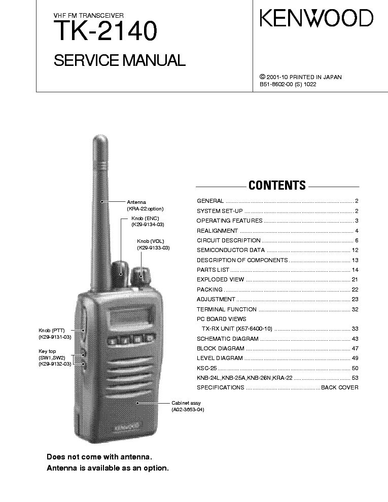 KENWOOD TK-2140,3140 Service Manual download, schematics
