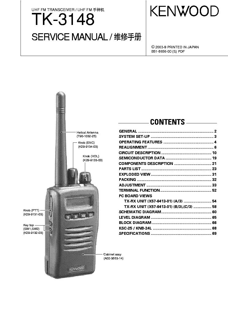 KENWOOD TK3360 UHF FM TRANSCEIVER Service Manual download