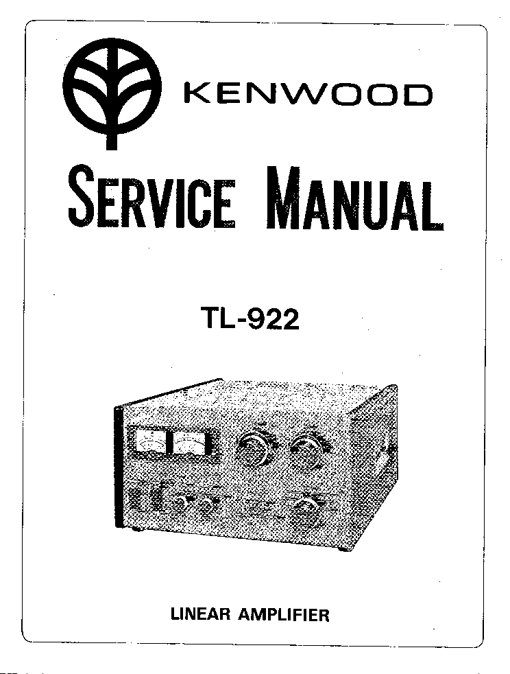 KENWOOD TL-922 LINEAR AMPLIFIER SM Service Manual download