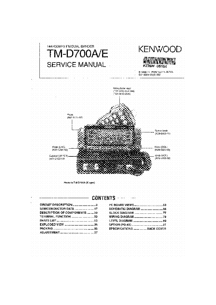 KENWOOD TM-255 Service Manual download, schematics, eeprom
