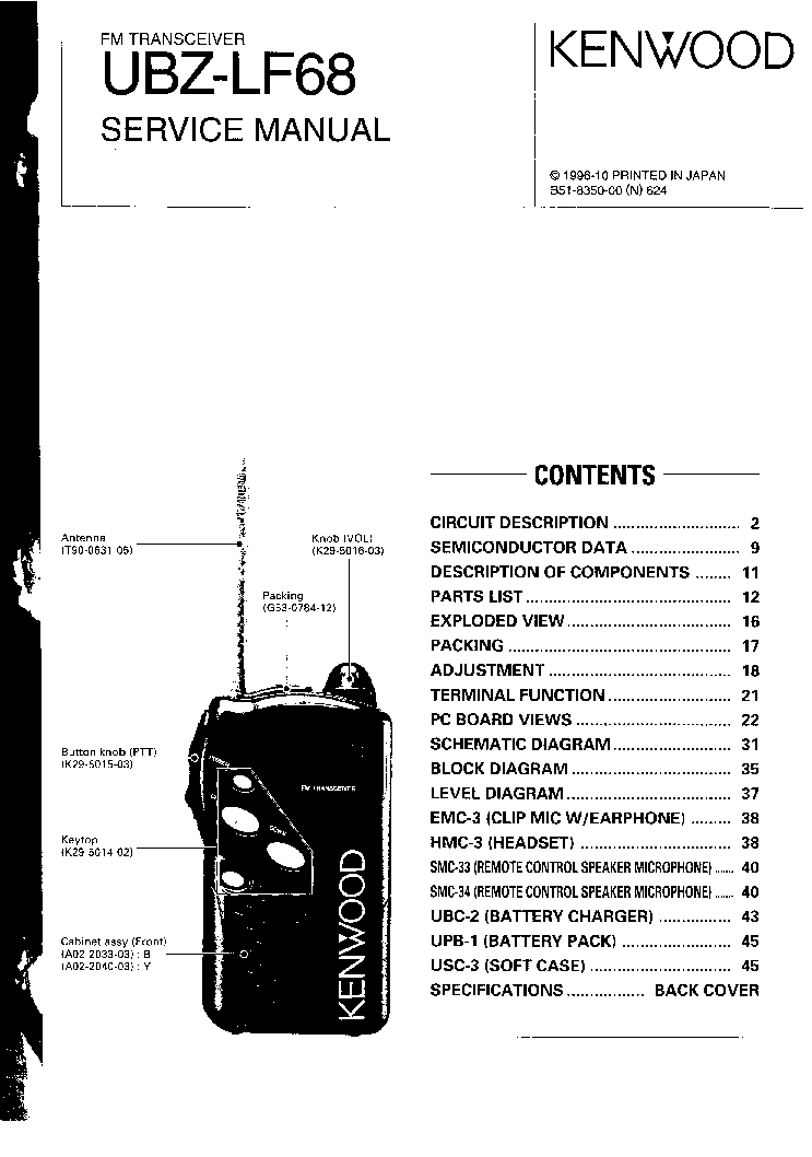 KENWOOD TH22 Service Manual download, schematics, eeprom