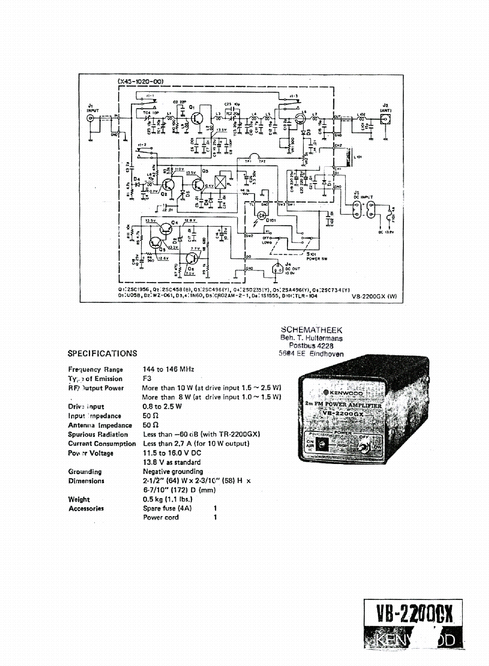 KENWOOD VB-2200GX SCH Service Manual free download