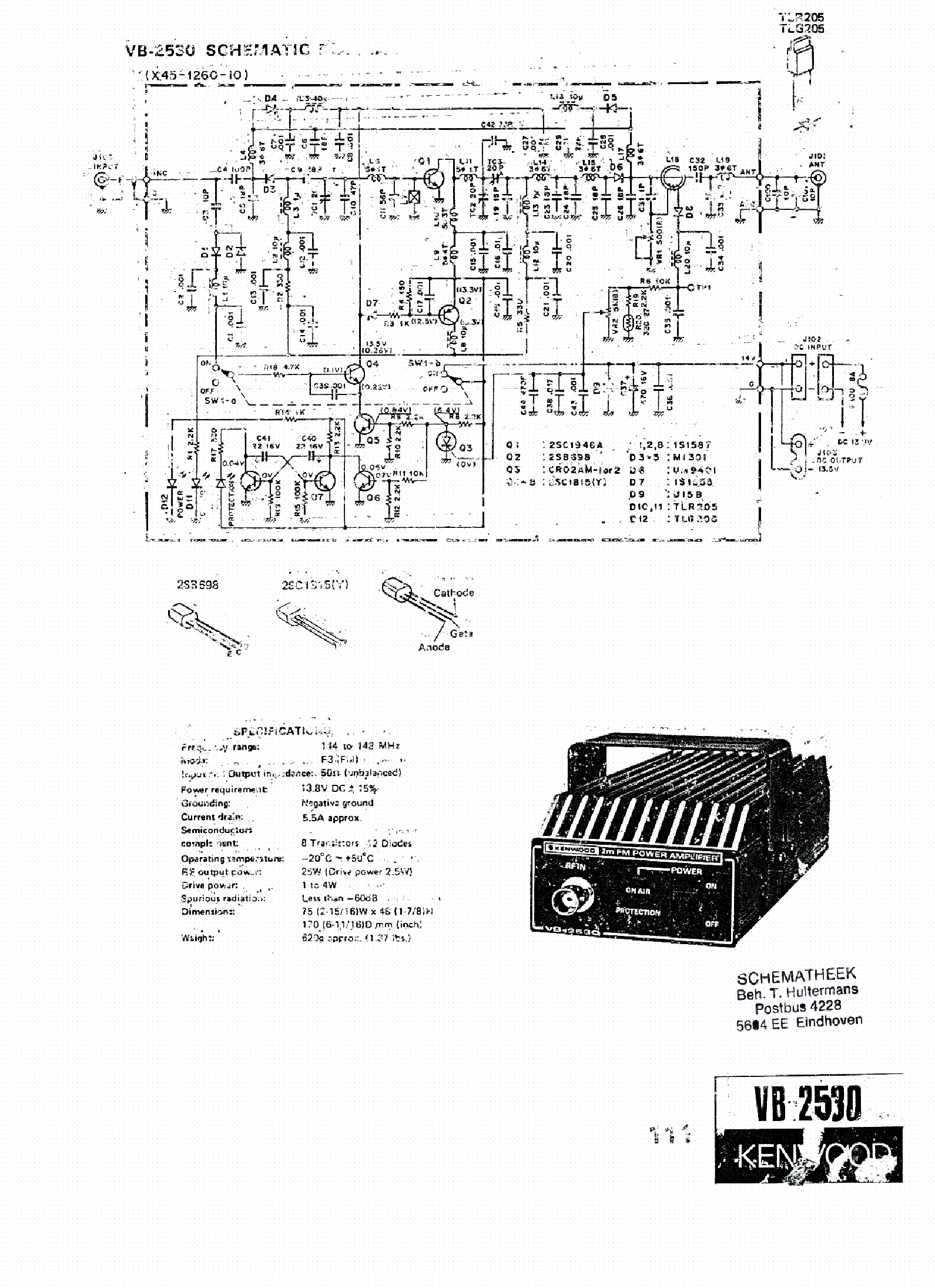 KENWOOD VB-2530 SCH Service Manual download, schematics