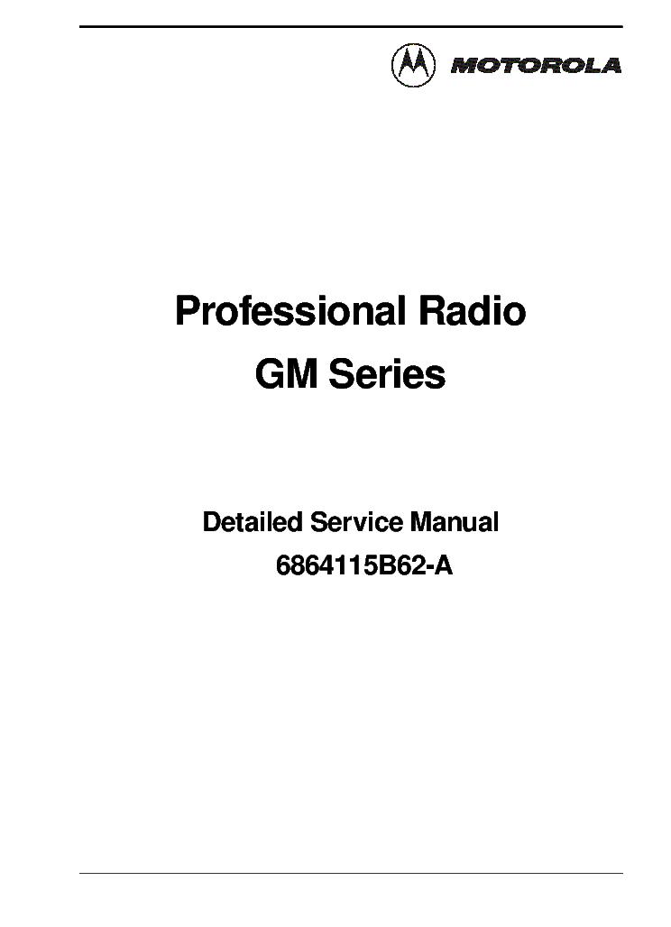 MOTOROLA 6864115B62-A GM SERIES RADIO DSM Service Manual