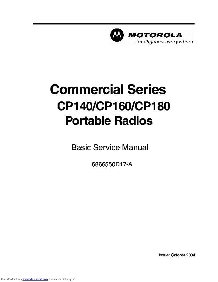 MOTOROLA 6866550D17-A COMMERCIAL SERIES CP140 CP160 CP180