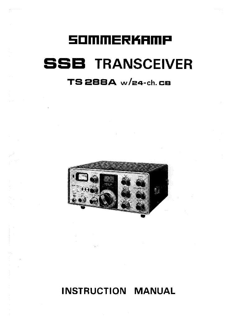 SOMMERKAMP TS288A SSB TRANSCEIVER Service Manual download