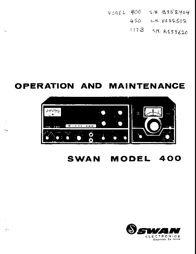 SWAN 400 TRANSCEIVER Service Manual download, schematics