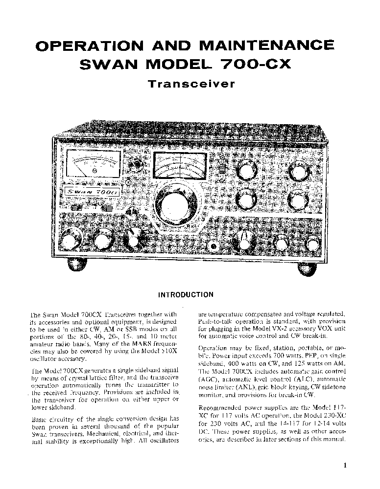 SWAN 700CX TRANSCEIVER Service Manual download, schematics
